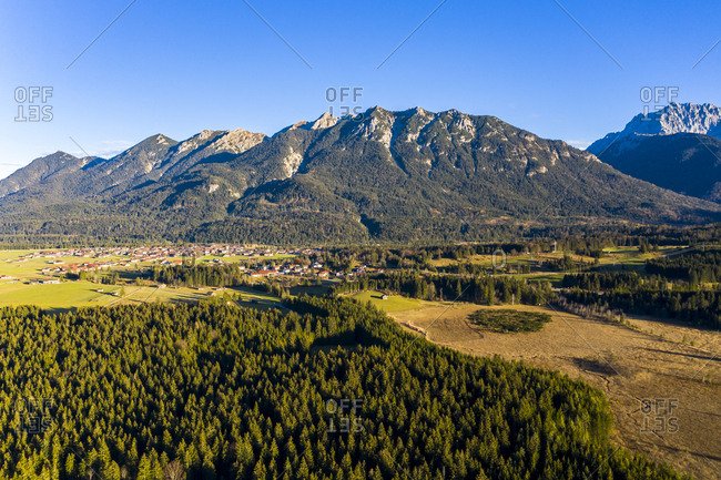 Germany- Bavaria- East Allgaeu- Region Garmisch-Partenkirchen- Kruen- Aerial view with Alps