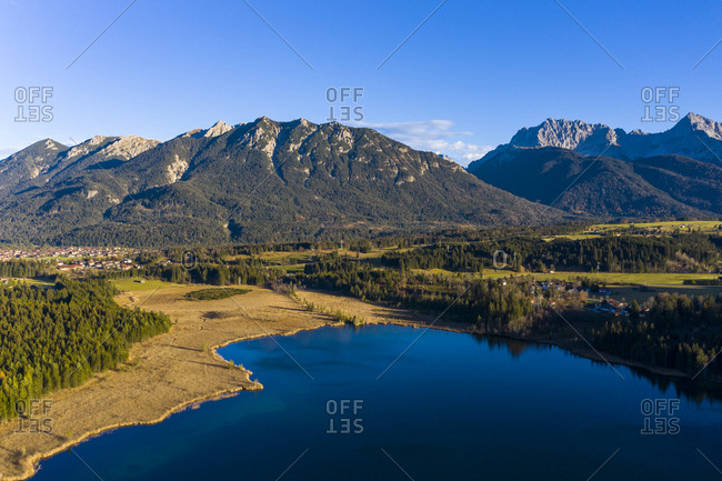 Germany- Bavaria- East Allgaeu- Region Garmisch-Partenkirchen- Kruen- Aerial view of Lake Barmsee and Grubsee
