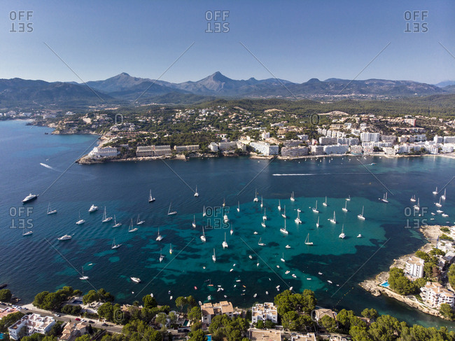 Spain- Baleares- Mallorca- Calvia region- Aerial view of Santa ponca- marina- Serra de Tramuntana in the background
