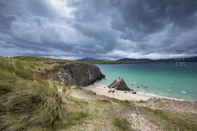 United Kingdom- Scotland- Sutherland- Cape of Balnakeil- cliff and beach- clouds