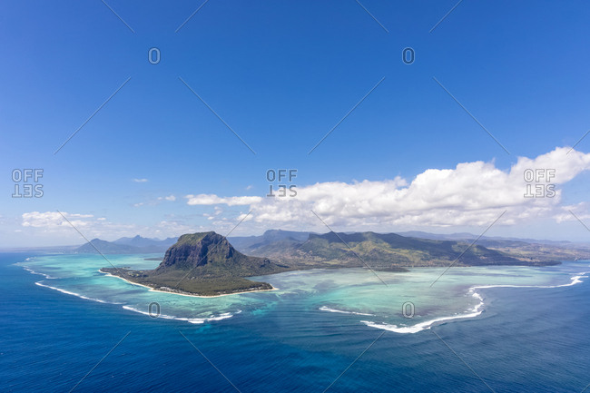 Mauritius- Southwest Coast- view to Indian Ocean- Le Morne with Le Morne Brabant- natural phenomenon- underwater waterfall- aerial view