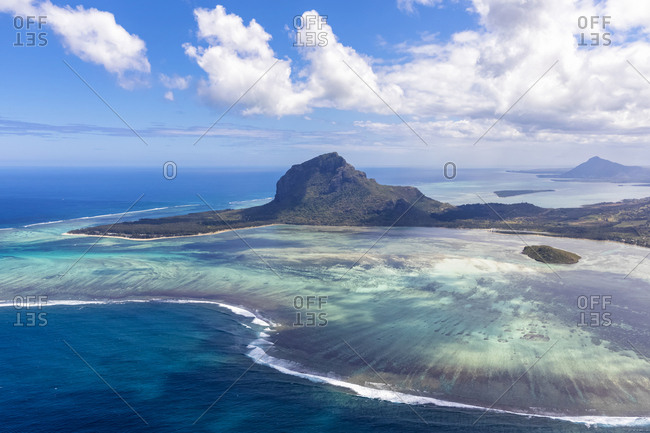 Mauritius- Southwest Coast- view to Indian Ocean- Le Morne with Le Morne Brabant- aerial view