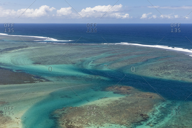 Mauritius- Southwest Coast- Aerial view of Indian Ocean