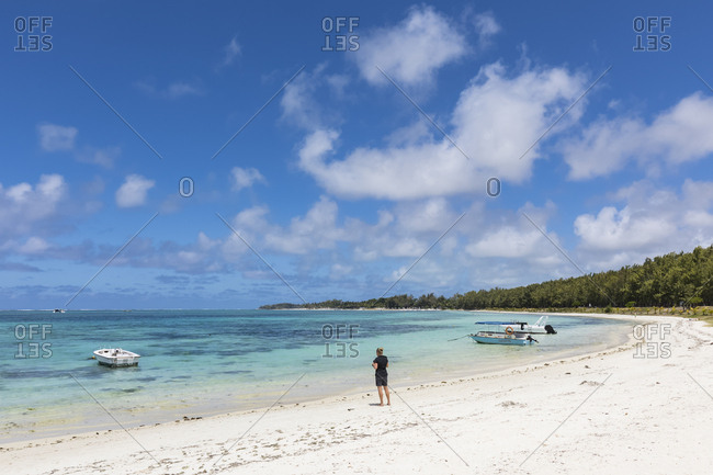 Mauritius- Indian Ocean- Flacq- East Coast- female tourist at beach of Belle Mare