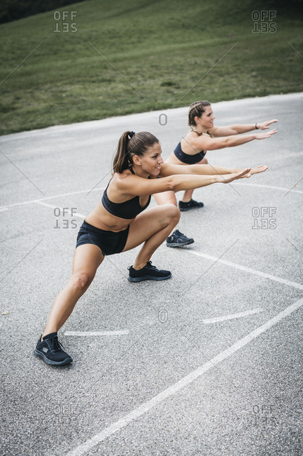 Sportive woman during workout- outdoor