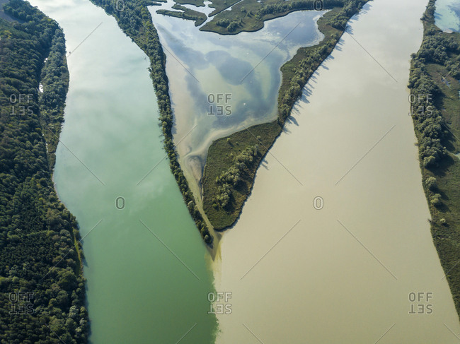 Germany- Bavaria- Burghausen- Salzach river and Inn river- river mouth