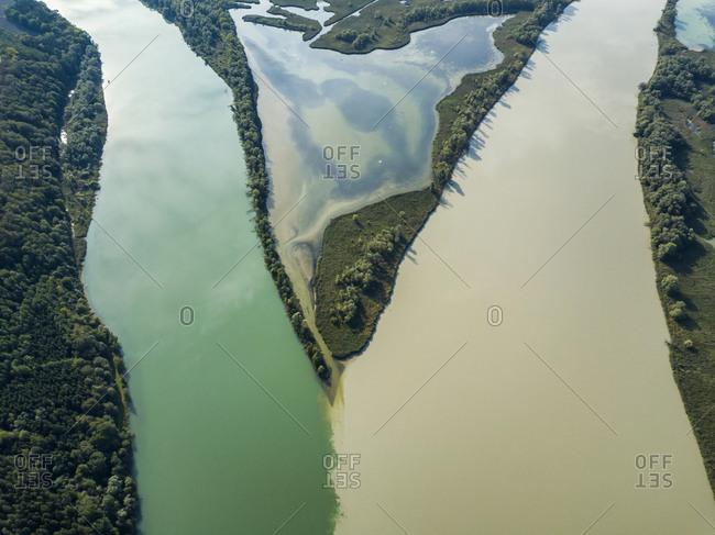 Germany- Bavaria- Burghausen- Salzach river and Inn river- river mouth