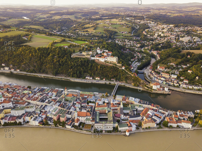 Germany- Bavaria- Passau- City of three rivers- Aerial view- Danube and Inn river- Veste Oberhaus