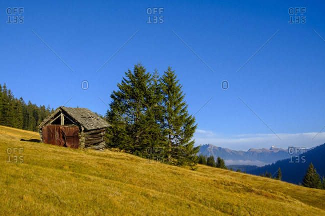 Germany- Bavaria- Swabia- Allgaeu Alps- Oberallgaeu- near Grasgehren- small hut and Hochvogel mountain
