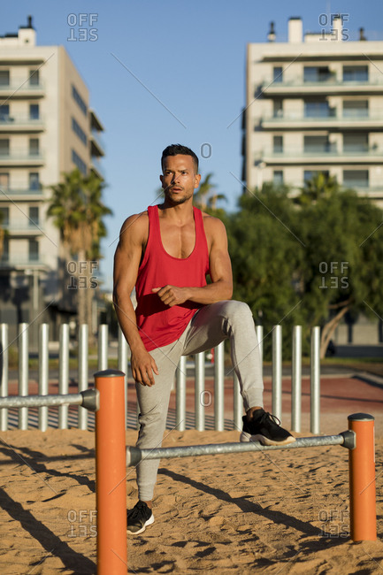Fit man working out in climbing parcour- portrait