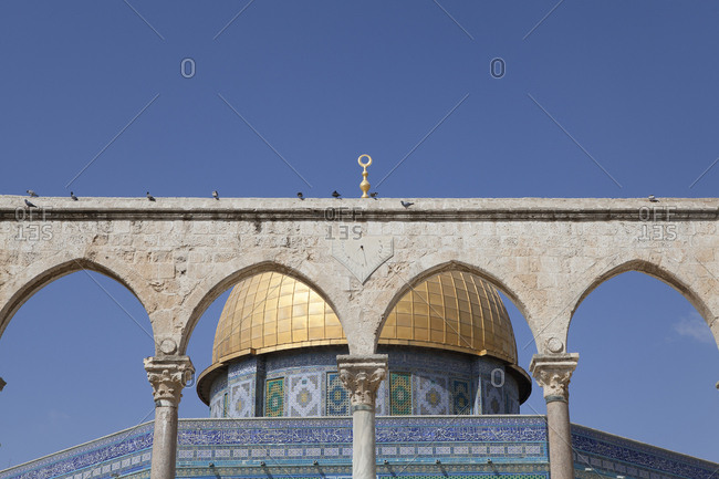October 14, 2018: Israel- Jerusalem- Dome of the rock- golden cupola- Corinthian arches