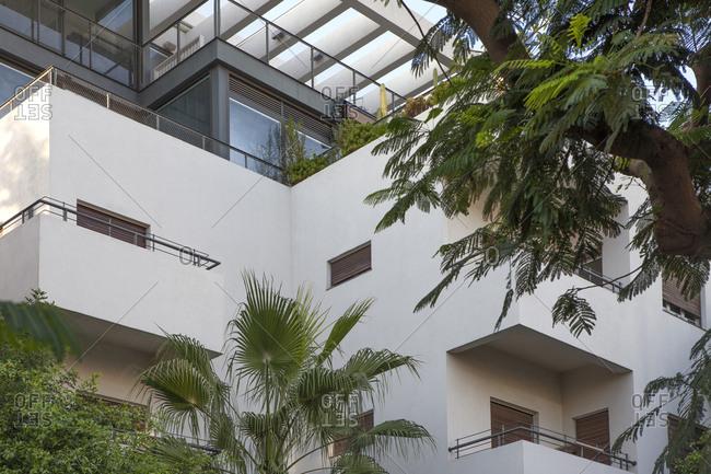 October 20, 2018: Israel- Tel Aviv- White City- Rothschild Boulevard- Bauhaus style
