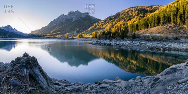 Switzerland- Graubuenden- Sufers at Lake Sufner