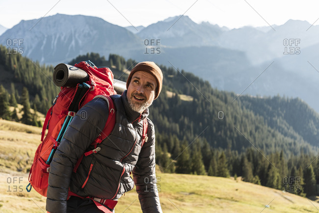 Mature man hiking in the mountains