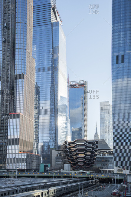 December 4, 2018: Manhattan, New York City, New York, view of the Hudson Yards and the Vessel vertical promenade