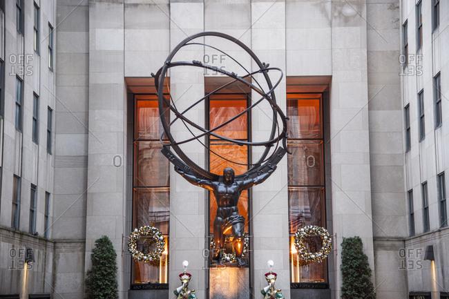 December 4, 2018: Atlas statue with Christmas decorations at Rockefeller Center, Manhattan, New York City, New York.