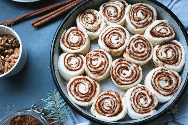 Close up of fresh raw cinnamon rolls