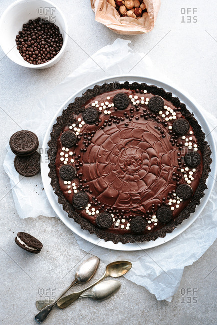 Delicious chocolate tart on light background