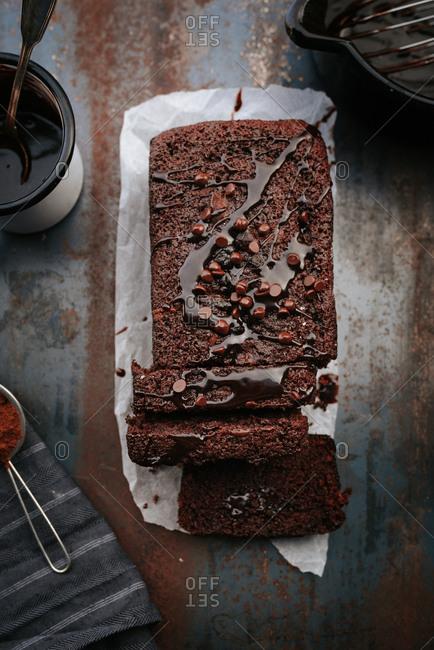 Chocolate cake with chocolate glaze on top