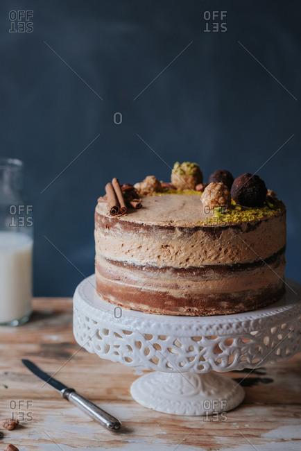 Beautifully decorated caramel naked cake