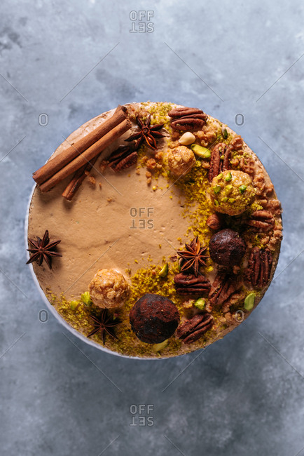 Overhead view of a beautifully decorated caramel naked cake