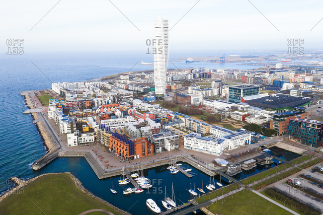 Elevated view of buildings including the Turning Torso in Malmo, Sweden