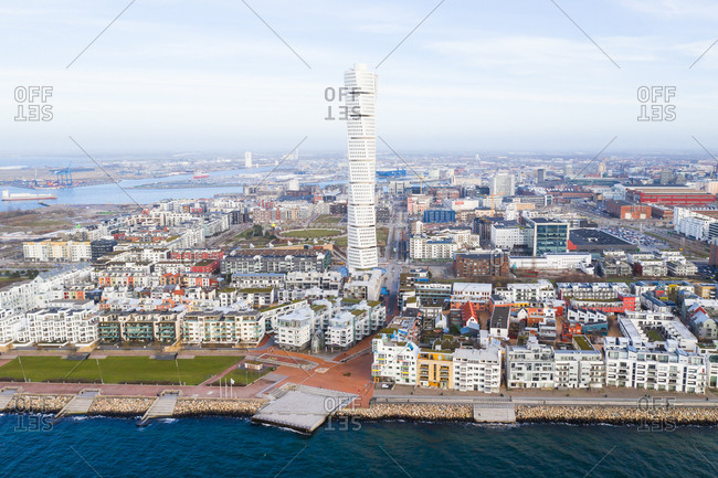 View of buildings including the Turning Torso in Malmo, Sweden