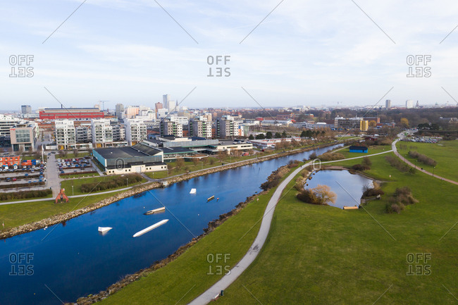 Malmo, Sweden - February 13, 2019: Elevated view of buildings and river in Malmo, Sweden