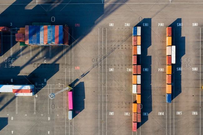 Malmo, Sweden - February 13, 2019: Overhead view of cargo containers