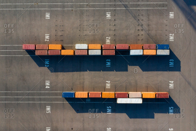 Overhead view of cargo containers