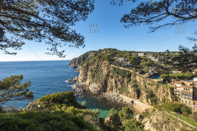 January 2, 2019: Landscape of the Mediterranean Sea in the vicinity of Tossa de Mar on the Costa Brava, one of the most visited tourist sites in Catalonia and Spain