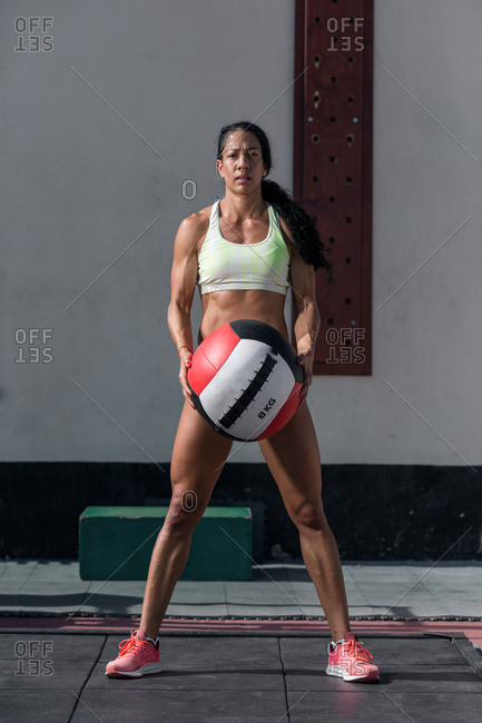 Woman with training ball