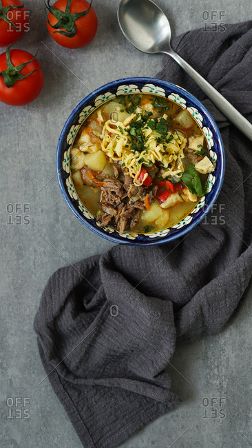 Manpar soup with pasta, traditional soup of middle asia