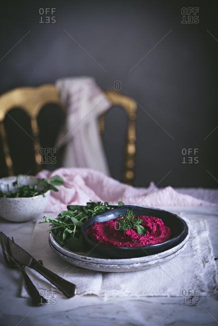 Hummus on plate