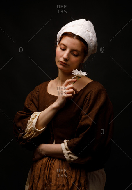 Medieval maid holding flower - Offset