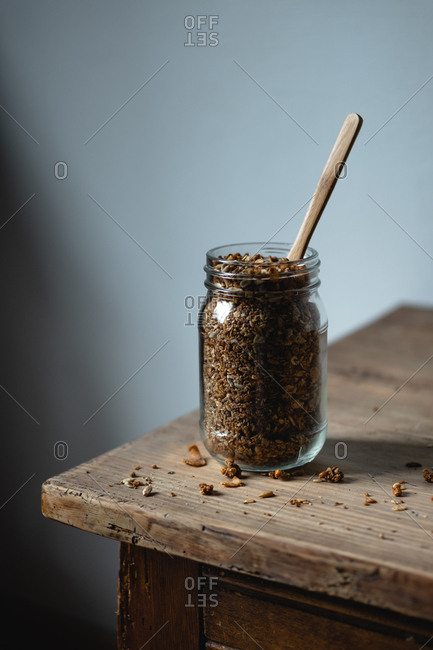 Jar of cereals with spoon