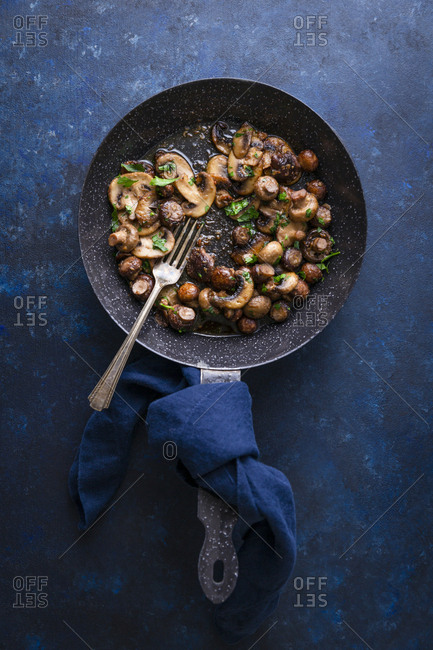 suteed mushrooms in a pan