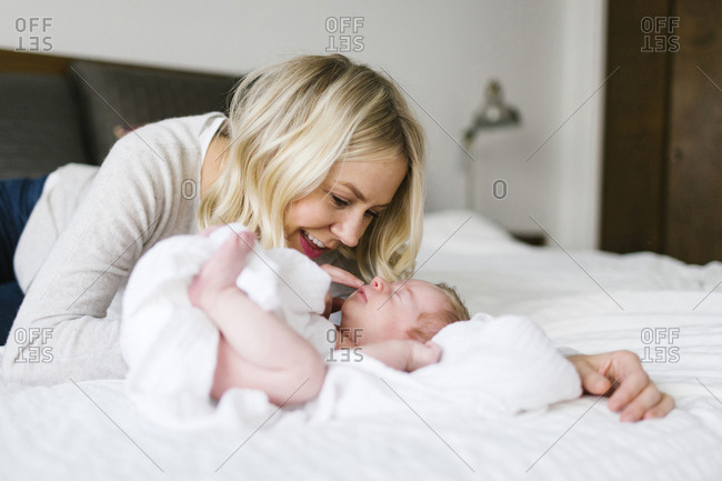 Woman with her baby son