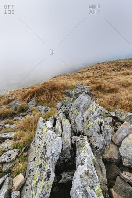 Rocks on Hoverla mountain in the Carpathian Mountain Range, Ukraine