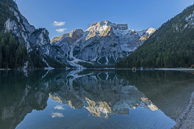 Mountains by Pragser Wildsee in South Tyrol, Italy