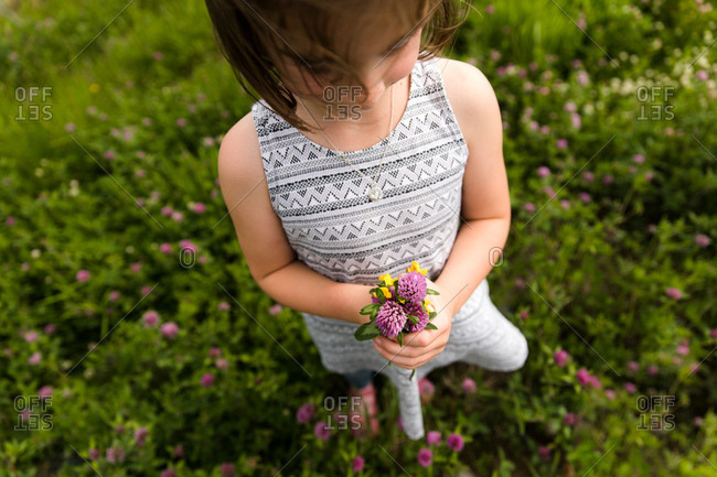 Child holding of fresh picked wild flowers