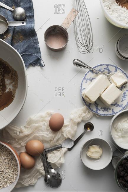 Baking ingredients on white surface