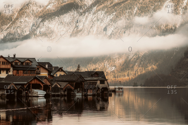 Hallstat, Austria - December 1, 2018:  Lakeside village