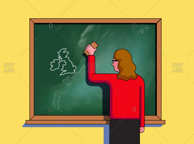Teacher erasing European Union and leaving map of British Isles
