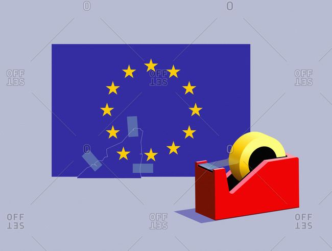 Sticky tape rejoining missing star to European Union flag