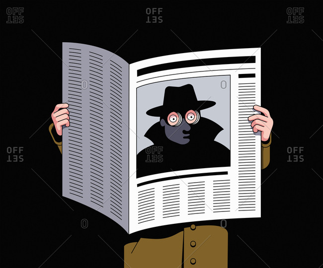 Spy looking through peepholes in newspaper