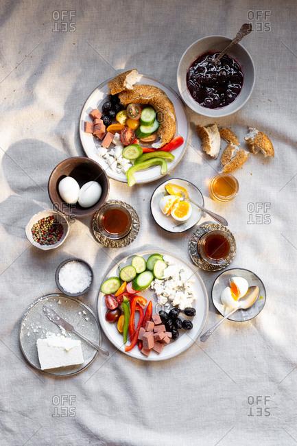 Overhead view of turkish breakfast