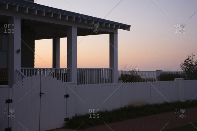 Covered Porch And Fence At Sunset,Norfolk, Virginia, USA
