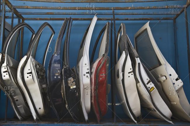 Row of Dismantled Car Doors,Israel