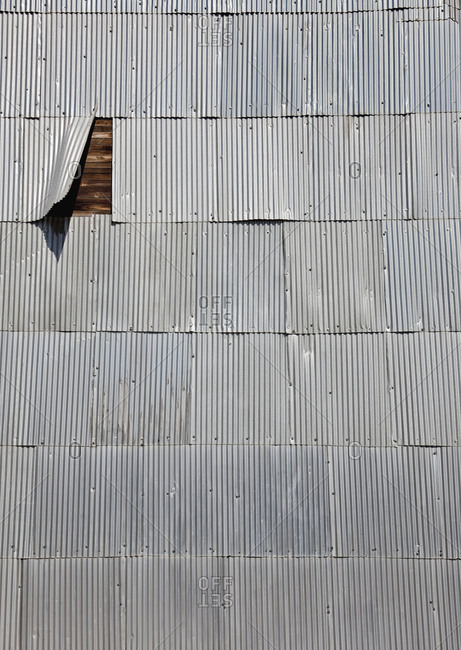Corrugated Shingles on a Wooden Wall,Washington, USA